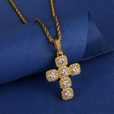 AAA Flooded Ice Micro Pave Centerstone Butterfly Hip Hop Cross Pendant