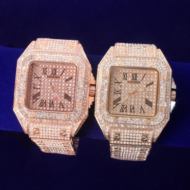 Mens Flooded Ice Super Square AAA Stone Big Boy Hip Hop Bust Down Wrist Watch
