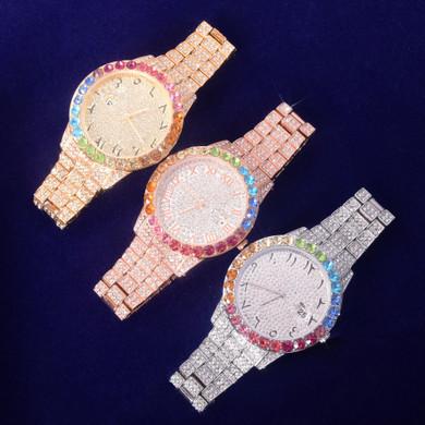 International Baller Arabic Numerals Flooded Ice Colorful Cluster Bezel Bust Down Hip Hop Wrist Watch
