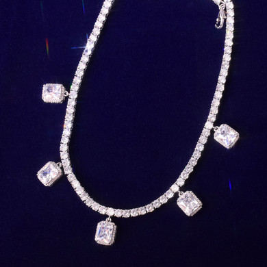 18k Gold .925 Silver Ruby White Gemstone Adjustable Tennis Chain Flooded Ice Chain Necklace