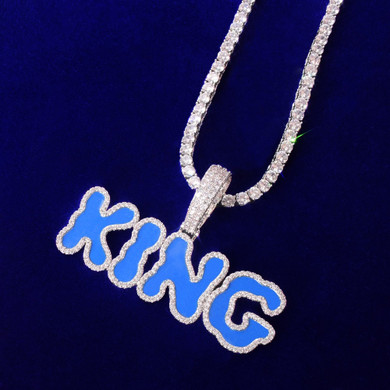 AAA True Micro Pave 18k Gold .925 Silver Carolina Blue Oil Letters Custom Pendant Chain Necklace
