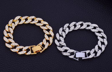 .925 Silver 14k Gold Handset Water Cluster Stone Cuban link Chain Neckalce