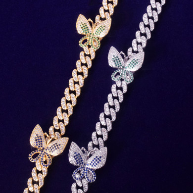18k Gold .925 Silver Ladies Butterfly Chain Necklace