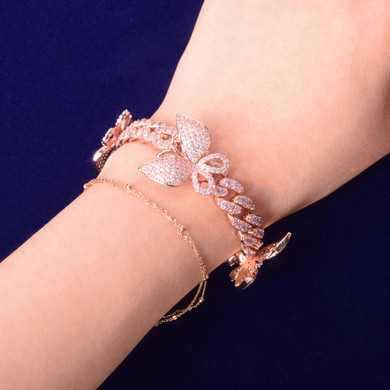 24k Rose Gold Sexy Ladies 10mm Miami Cuban Link Pink Butterfly AAA Micro Pave Bracelet