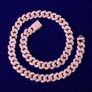 24k Flooded Ice 10mm Pink AAA Simulate Diamond Stone Miami Cut Cuban Link Chain Necklace