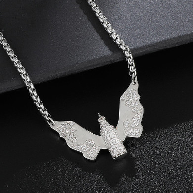 Hip Hop Iced Pave Set 14k Gold .925 Silver Angel Wings Bullet Bling Pendant Chain Necklace