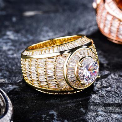 Flooded Ice 18k Gold .925 Silver Championship Baguette Bling Rings