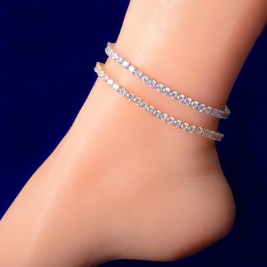 Ladies 4mm Adjustable 18k Gold .925 Silver Rose Gold Tennis Chain Ankle Bracelet