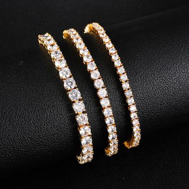 AAA 4 Prong Set Stone 18k Gold 925 Silver Box Lock Tennis Link Bracelet