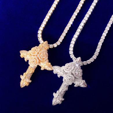18k Gold .925 Silver Rose Gold Spiritual Flower Cross Hip Hop Pendant Chain Necklace