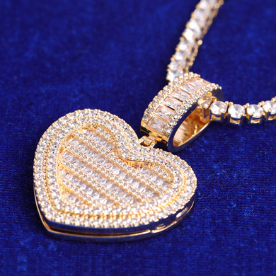 24k Gold Rose Gold .925 Silver Opening Heart Photo Picture Baguette Pendant Chain Necklace