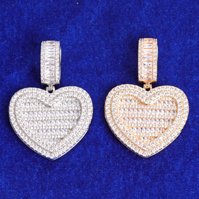 14k Gold Rose Gold .925 Silver Opening Heart Photo Picture Baguette Pendant Chain Necklace
