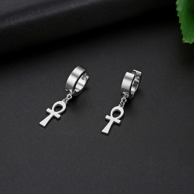 Key Of The Nile Gold Silver Rose Gold Stainless Steel Ankh Cross Huggie Earrings