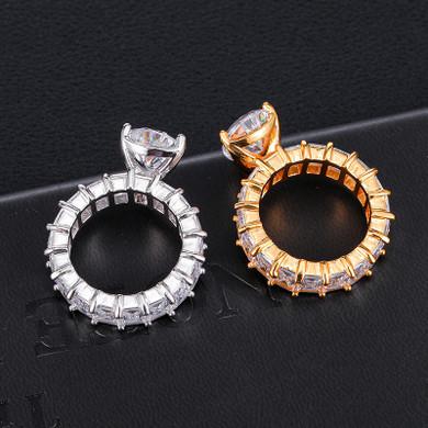 Ladies Tear Drop Center Stone 18k Gold .925 Silver AAA Princess Cut Ring