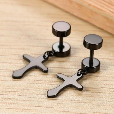 14k Gold Silver Black Dangling Cross Screw Back Solid Stainless Steel Earrings