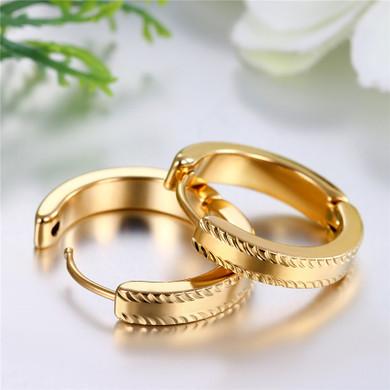 14k Gold Over Solid Stainless Steel Huggie Hoop Bling Bling Earrings