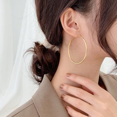 Ladies 14k Gold Rose Gold Silver Black Over Solid Stainless Steel Classic Big Hoop Earrings