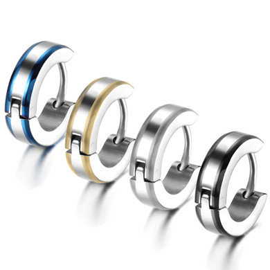 Mens Unique Striped Solid Stainless Steel Gold Blue Silver Black Hip Hop Huggie Earrings