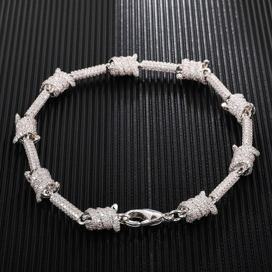 White Gold AAA Flooded Ice Barbed Wire Bracelet