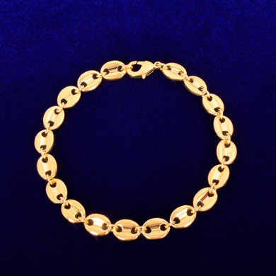 White Gold 24k Yellow Gold 7mm G-Link Coffee Bean Hip Hop Bracelet