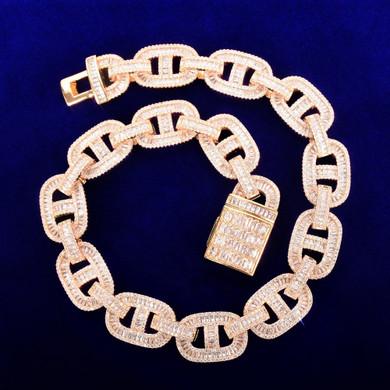 24k Gold 925 Silver 18mm Flooded Ice True Baguette Stone Big Boy Baller Cuban Link Chain