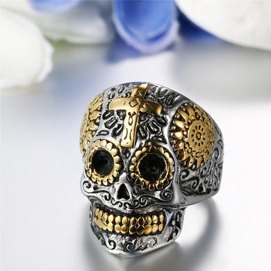 Mens Aztec Skull Stainless Steel Gold Skeleton Cross Rings