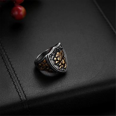 Men's Bold Stainless Steel Lion Shield Vintage Jewelry Rings