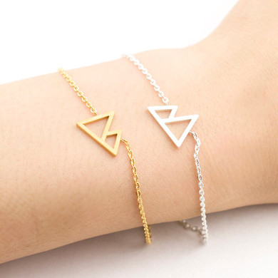 Gold Silver Stainless Steel Delicate Double Mountain Silhouette Triangle Bracelets
