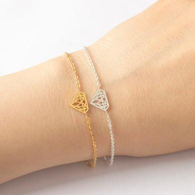 Ladies Diamond Shape 14k Rose Gold Silver Solid Stainless Steel Dainty Bracelets