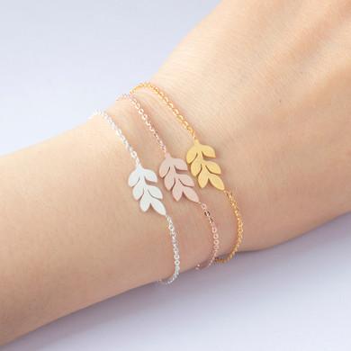 Ladies Rose Gold 14k Silver Over Stainless Steel Leaf Charm Bracelets