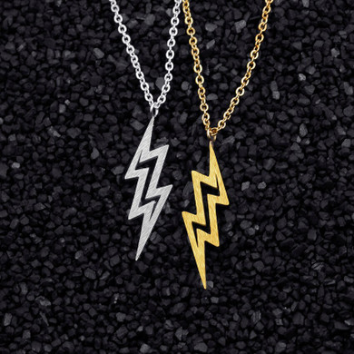 Gold Silver Over Stainless Steel Lightning Bolt Pendant Necklace