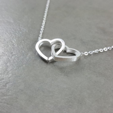 14k Rose Gold Silver Solid Stainless Steel Double Heart Chain Friendship Love Necklaces