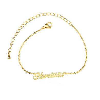 Ladies Gold Platinum Rose Gold Stainless Steel Personalized Custom Name Ankle Bracelets