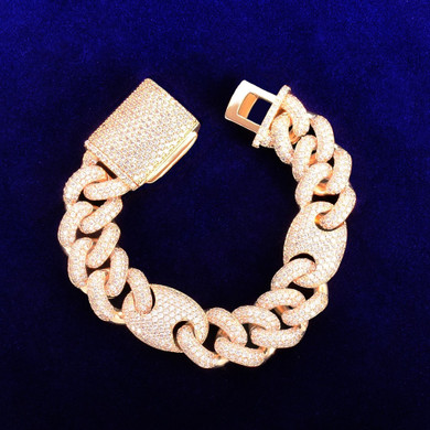 Big Dogs 18mm Street Rock Flooded Ice AAA Stone Designer Cuban Link Hip Hop Bracelets
