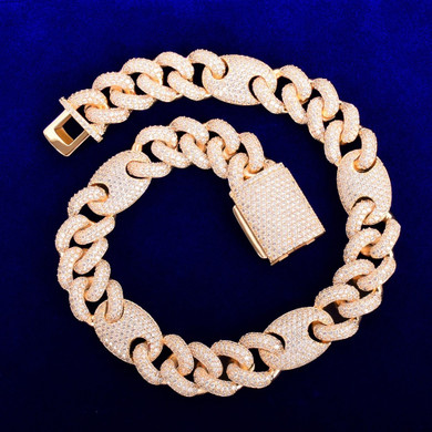 Big Dogs 18mm Street Rock Flooded Ice AAA Stone Designer Cuban Link Hip Hop Chains