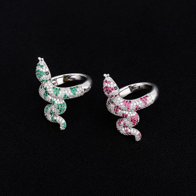 Green Pink AAA True Micro Pave Coral Snake Silver Bling Rings