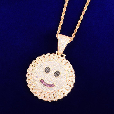 18k Gold 925 Silver Flooded Ice Cuban Link Design Smiley Face Hip Hop Pendant Chain Necklaces