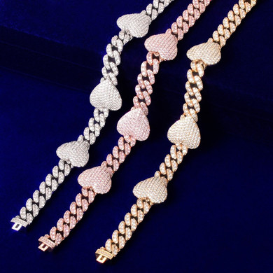 Ladies Big Heart Love 10mm Miami Cuban Link Chain Necklace 18k Gold 925 Silver Rose Gold