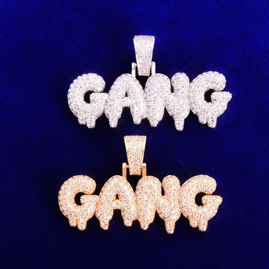 Flooded Ice Drip Drop AAA Micro Pave 18k Gold 925 Silver Gang Hip Hop Pendant