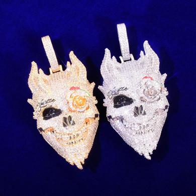 Mens 18k Gold 925 Silver Rose Eye Patch Multi Horned Demon Skull Pendant