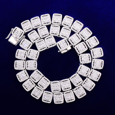 The Don 12MM Flooded Ice Square Baguette 24k Gold White Gold Hip Hop Chain Necklace