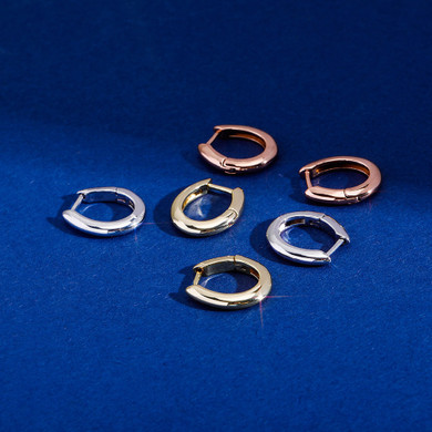 Solid .925 Sterling Silver Oval Loop Silver Gold Rose Gold Earrings