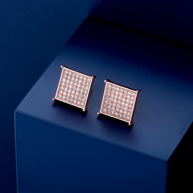 Flooded Ice 12mm Square Cut Micro Pave Set Classic Hip Hop Earrings