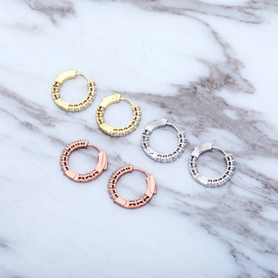 Women's Gold Silver Rose Gold All Ice Small Round Hoop Bling Earrings