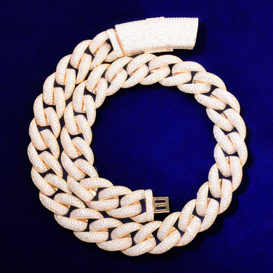 24k Gold 925 Silver Flooded Ice Iced Clasp Hip Hop Miami Cuban Chain Link Chain Necklace