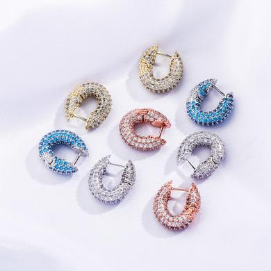 Ladies Beautiful Iced Fashion 3AAA Stone Bling Cube Earrings