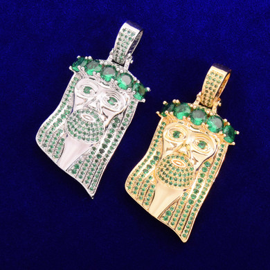 Green Hand Set Flooded Ice 18k Gold .925 Silver Jesus Piece Hip Hop Pendant Chain Necklace