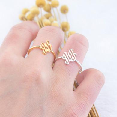 Ladies Adjustable 14k Gold 925 Silver Bohemia Cactus Ring
