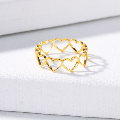 Dainty Platinum Rose Gold 14k Over Stainless Steel All Heart Hollow Rings