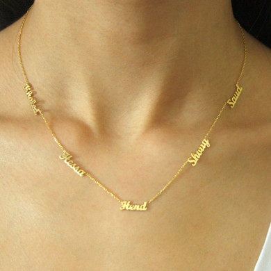 New Fashion Rose Gold Platinum 14k 1-5 Names Stainless Steel Custom Chain Necklace